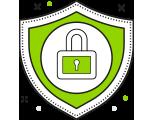 Icon mit Schutzschild und Schloss für Call to Action Bereich