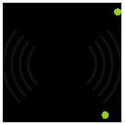 Icon mit Funkwellen für elektronische Systeme