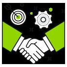 Icon mit Handschlag für Flexibilität und Service