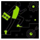 Icon mit rennendem Mann für Flucht- und Rettungswegtechnik